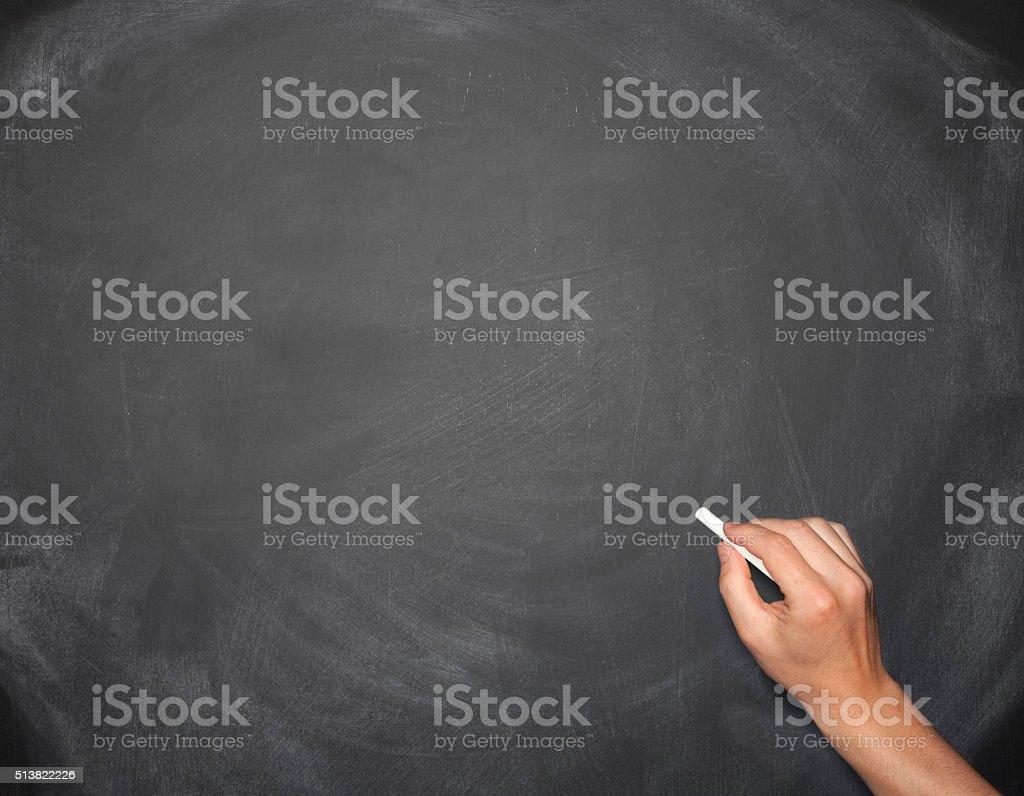 Hand writing on a blank empty blackboard stock photo
