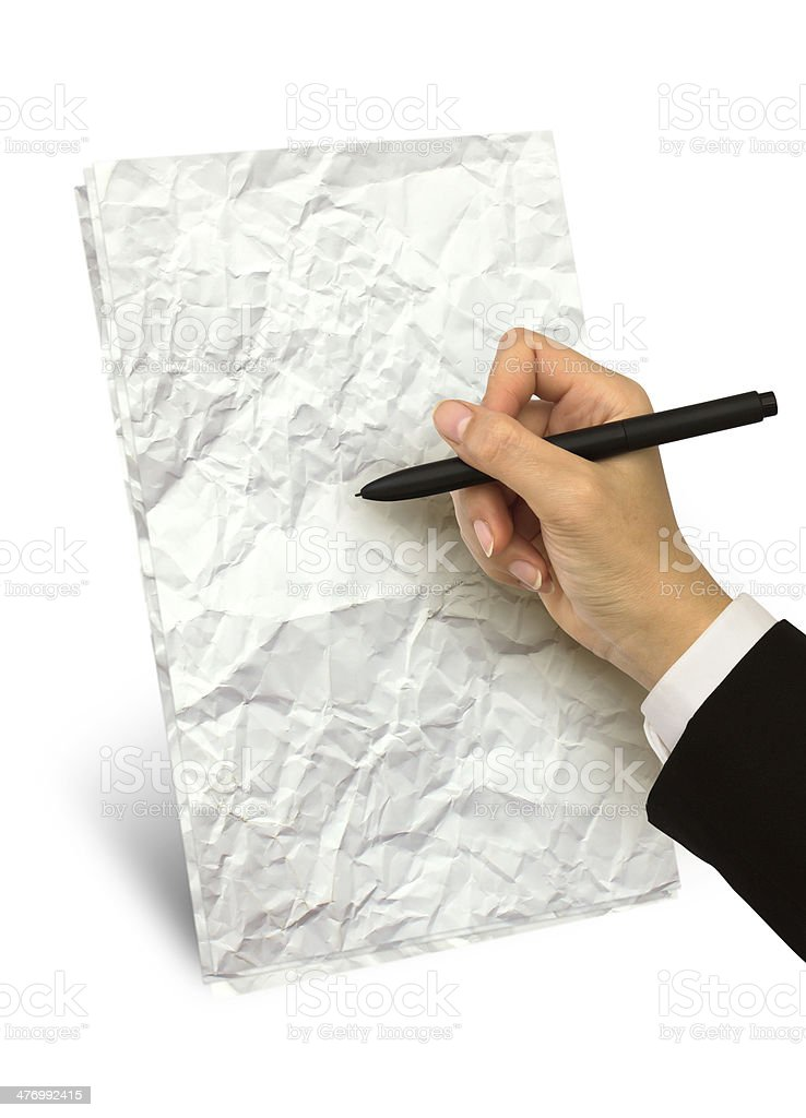 Hand writing on paper royalty-free stock photo