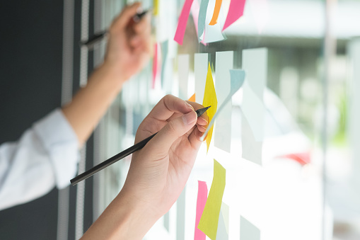 istock Hand writing paper note, sticky note on glass window with close up shot. 915672086