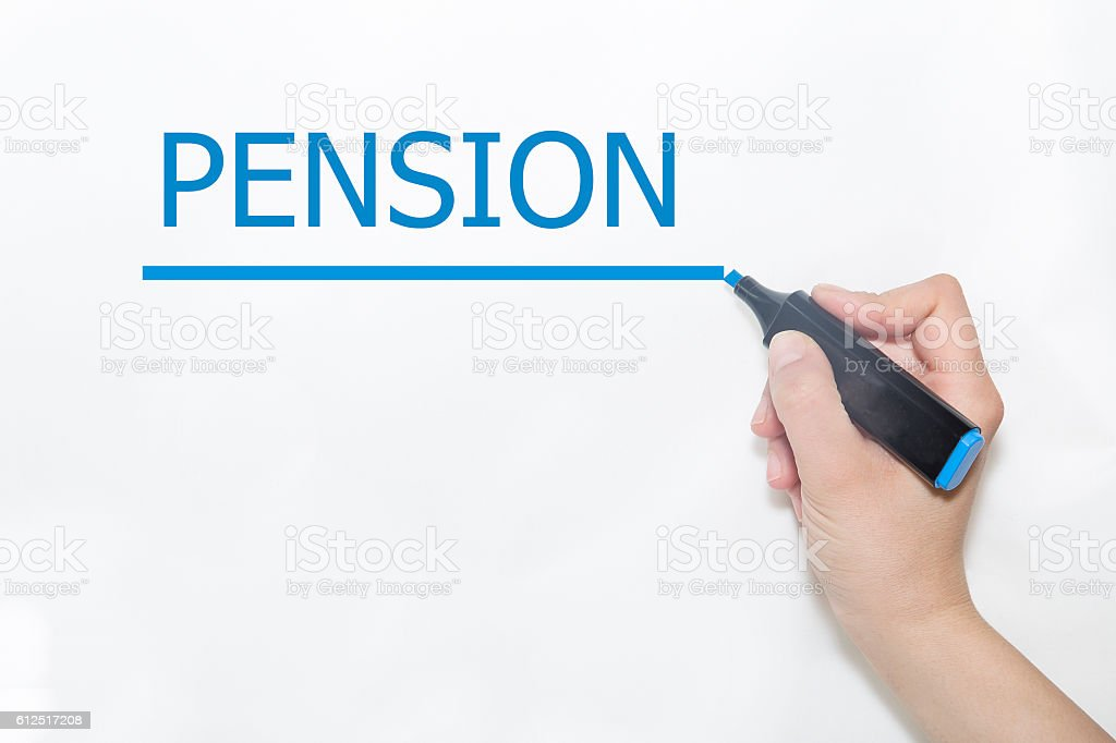 Hand writing pension with marker on transparent wipe board stock photo