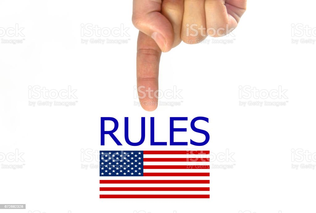 hand writing rules and American flag. isolated on white background stock photo