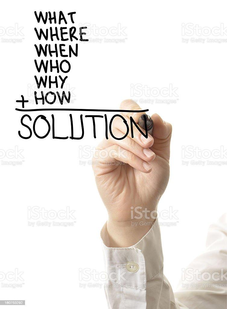 Hand writing solution list stock photo