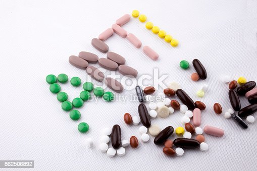 istock Hand writing text caption inspiration Medical care concept written with pills drugs capsule word ANTI forever young age feel anti aging On white isolated background with copy space 862506892