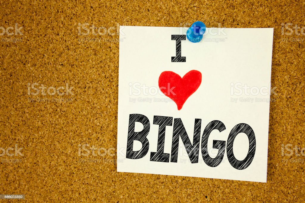 Hand writing text caption inspiration showing Bingo concept meaning Lettering Gambling to Win Price Success and Love written on sticky note, reminder isolated background with copy space stock photo