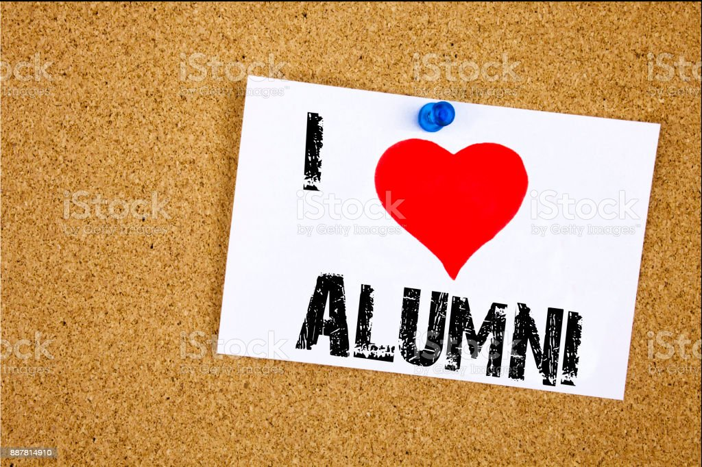 Hand writing text caption inspiration showing I Love Alumni Former Students concept meaning Celebration Education Ending Loving written on sticky note, reminder isolated background with copy space stock photo