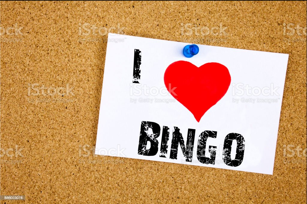 Hand writing text caption inspiration showing I Love Bingo concept meaning Lettering Gambling to Win Price Success Loving written on sticky note, reminder isolated background with copy space stock photo