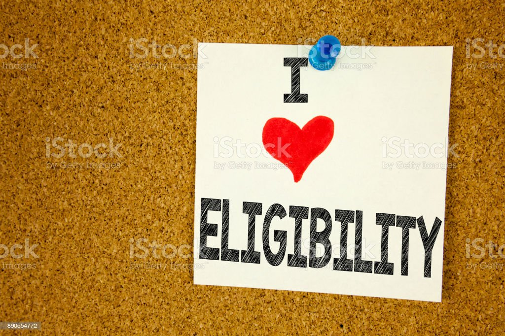 Hand writing text caption inspiration showing I Love Eligibility concept meaning Suitable Eligible Eligibility Loving written on sticky note, reminder isolated background with copy space stock photo