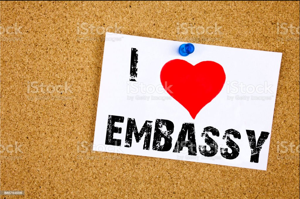 Hand writing text caption inspiration showing I Love Embassy concept meaning Tourist Visa Application Loving written on sticky note, reminder isolated background with copy space stock photo