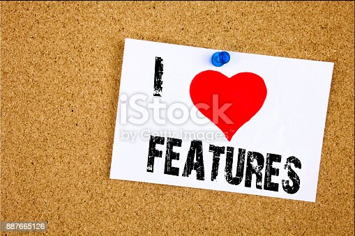 istock Hand writing text caption inspiration showing I Love Features concept meaning Advertisement Advertising Loving written on sticky note, reminder isolated background with copy space 887665126