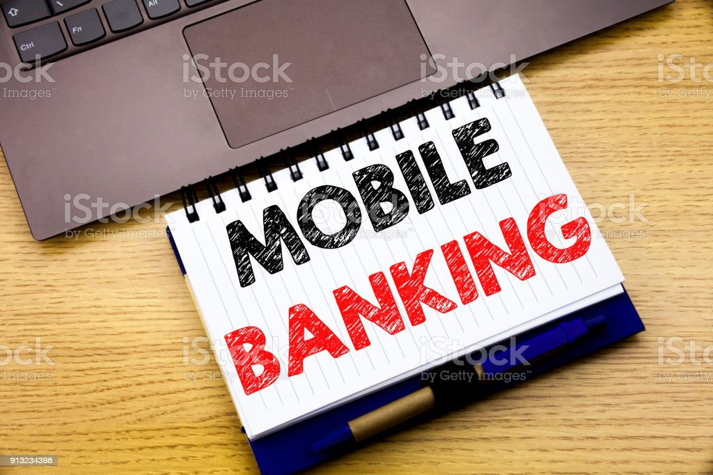 Hand writing text caption inspiration showing Mobile Banking....