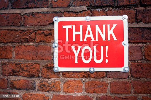 1068057246 istock photo Hand writing text caption inspiration showing Thank You concept meaning Giving Gratitude Appreciate Message written on old announcement road sign with background and copy space 878714118