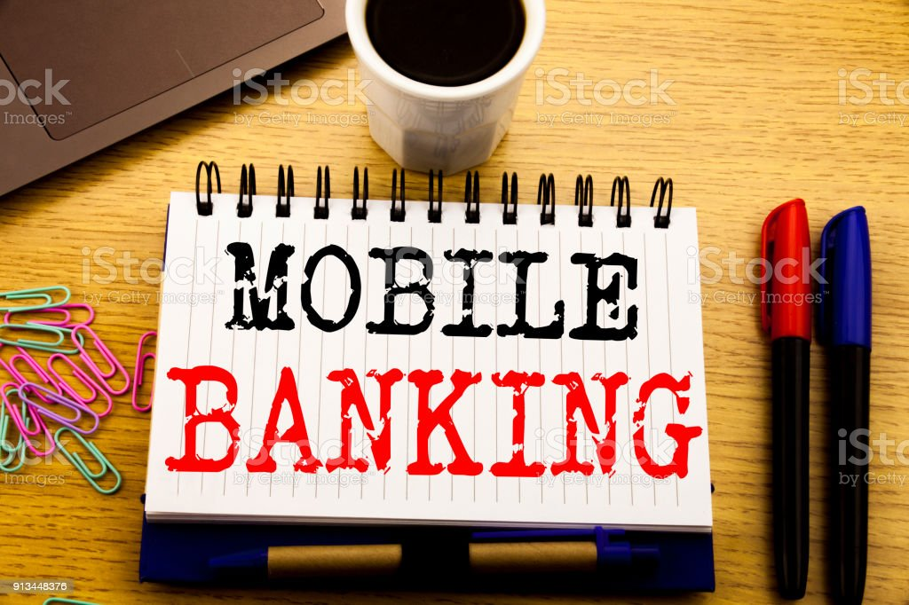 Hand writing text caption showing Mobile Banking. Business concept...