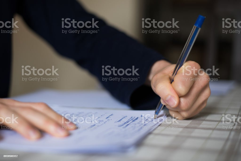 Hand writing text on paper background with copy space stock photo