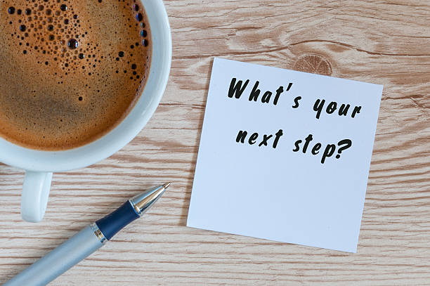 Hand writing the text Whats Your Next Step. Morning coffee Hand writing the text Whats Your Next Step. Morning coffee at wooden table background. single step stock pictures, royalty-free photos & images