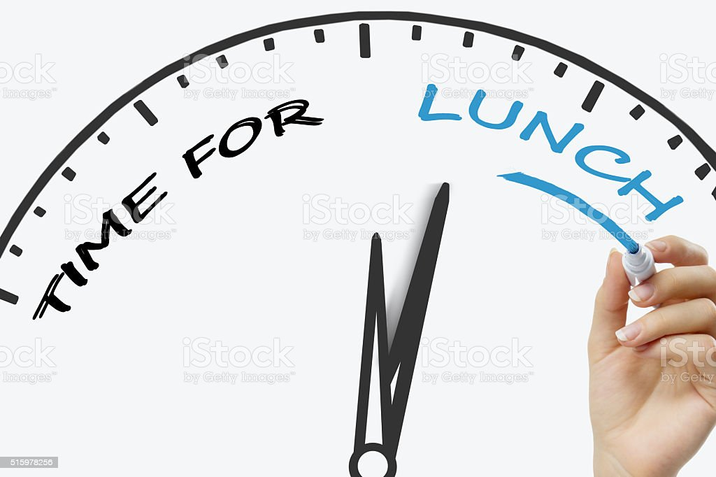Hand writing Time for a Lunch concept with blue marker stock photo