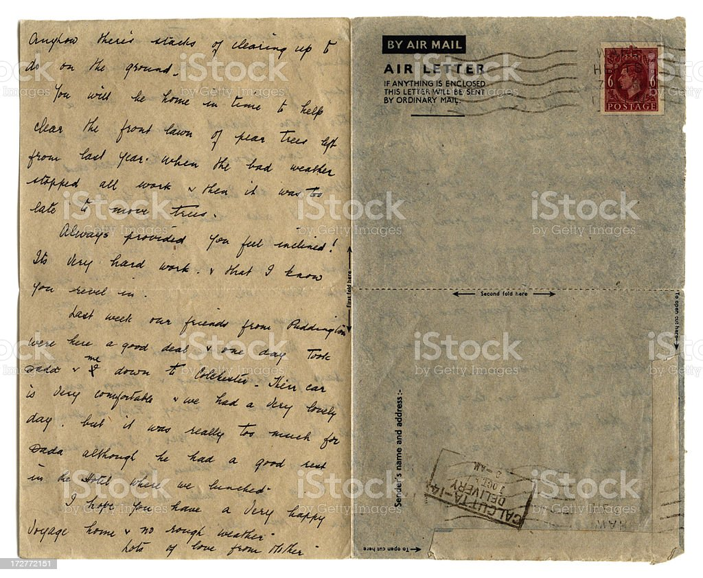 Hand written air letter to India royalty-free stock photo