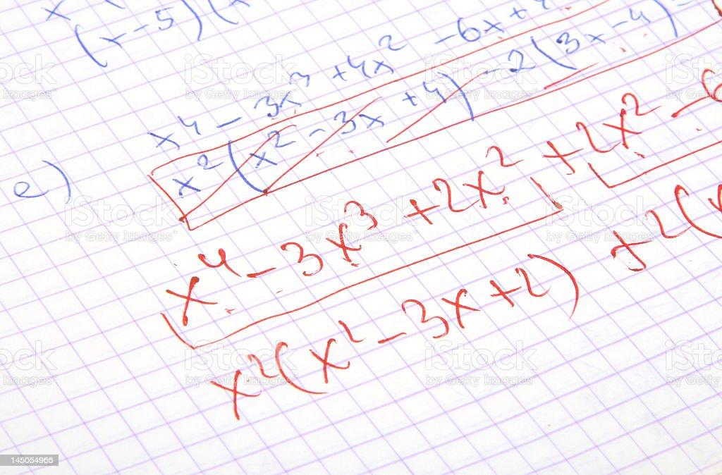 Hand written algebraic calculations stock photo