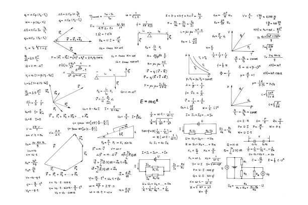 Hand written collection of physical formulas stock photo