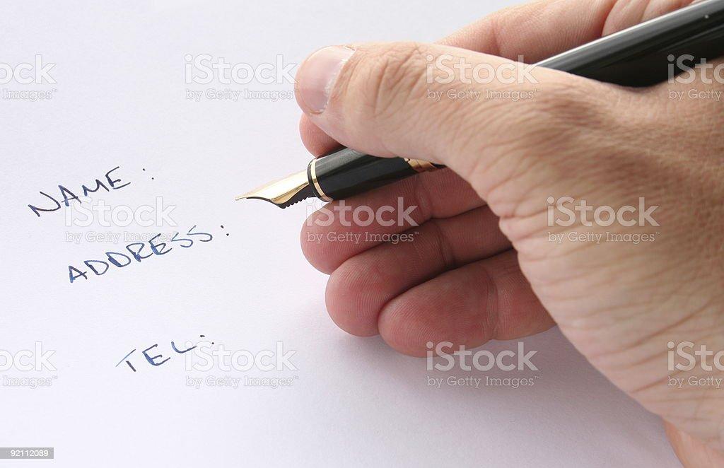 Hand Written Form stock photo