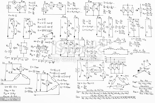 background with hand written electrotechnics formulas with diagrams and plans of basic electrotechnics setups and sketches on white paper background,