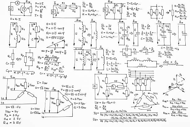 hand written formulas of electrotechnics and electronics on white background - diagram stock pictures, royalty-free photos & images
