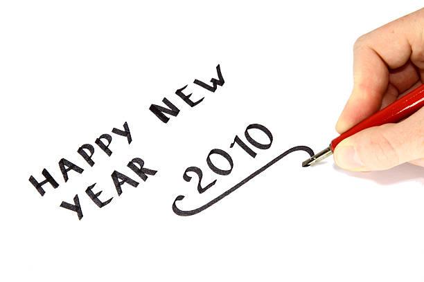 hand geschriebenen frohes neues jahr 2010 - foto tusche stock-fotos und bilder