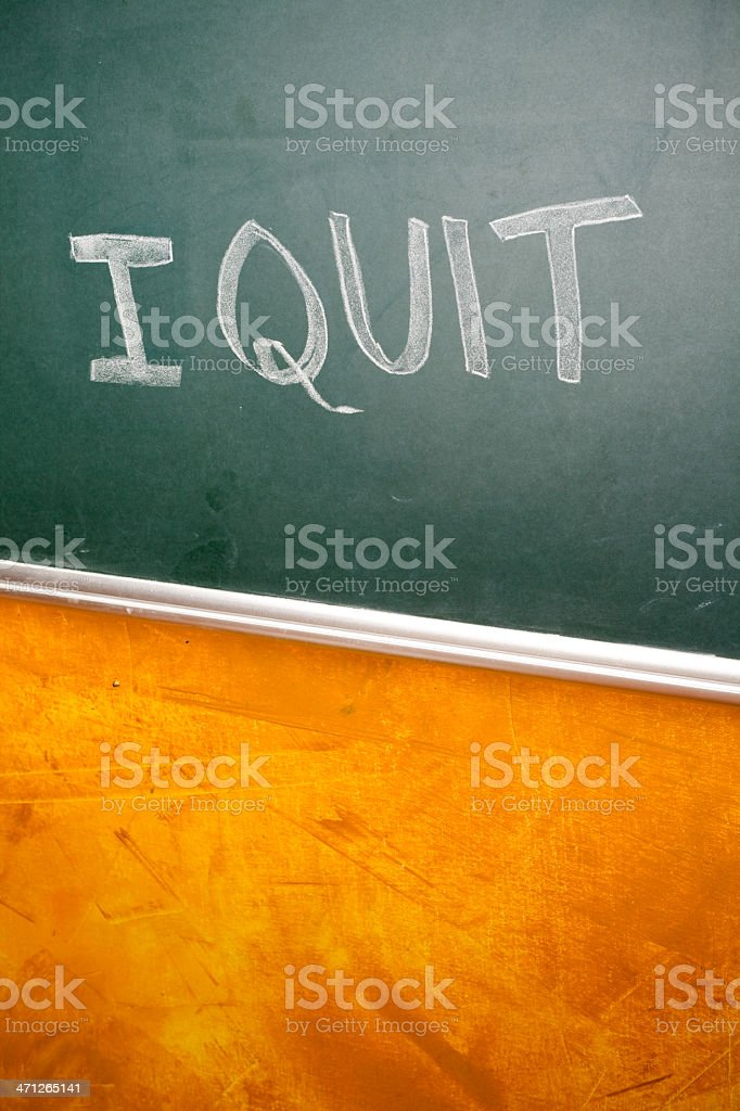Hand written 'I Quit' on a greenboard stock photo