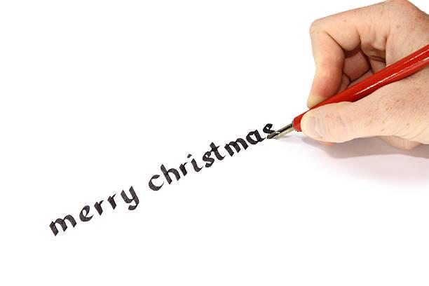 hand geschriebenen merry christmas-englische redewendung - foto tusche stock-fotos und bilder