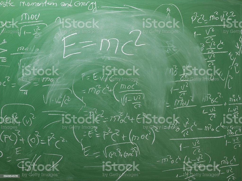 Hand Written Mixed Mathematical Formulas On Green Chalkboard stock photo