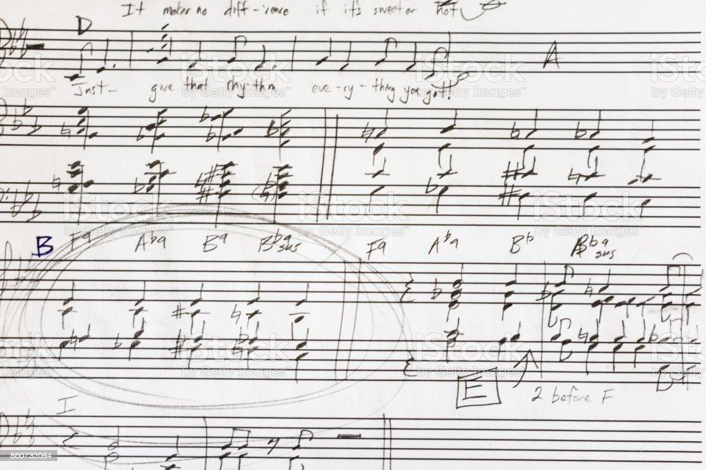 Hand written sheet music stock photo
