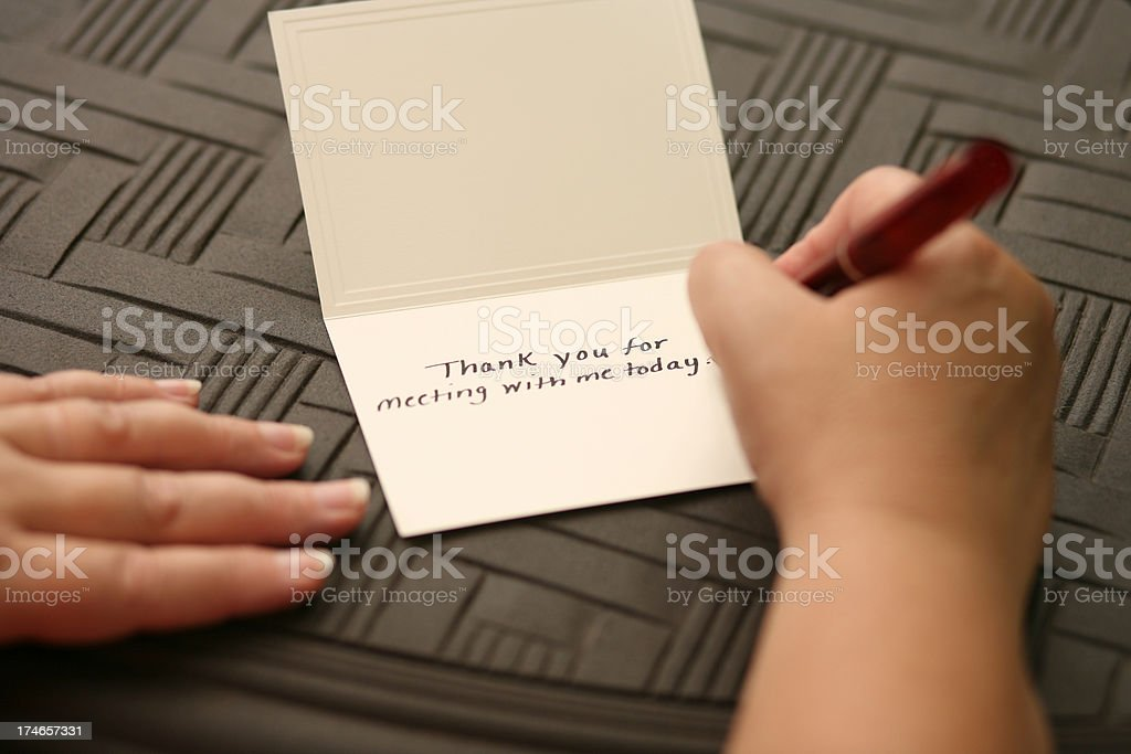 Hand Written Thank You Note stock photo
