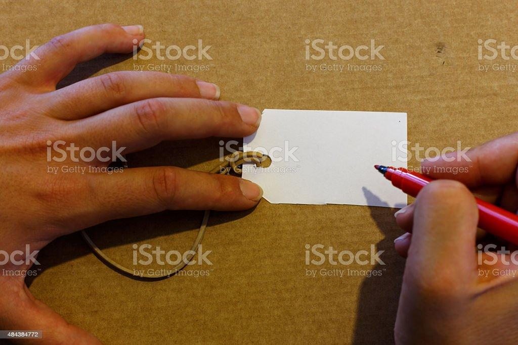 hand writting label closeup stock photo