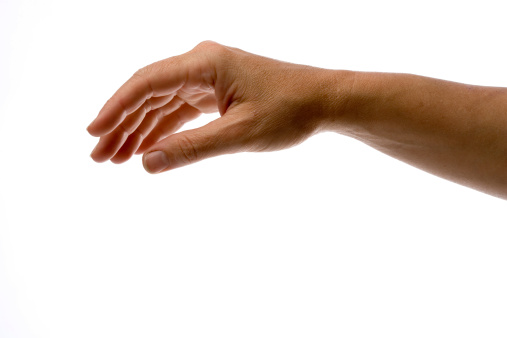 Arm and hand floating in the air on white background.
