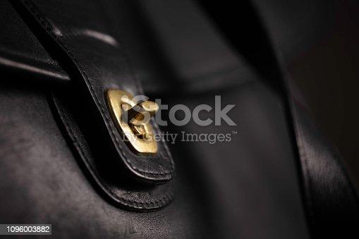 Closeup of a leather handbag latch