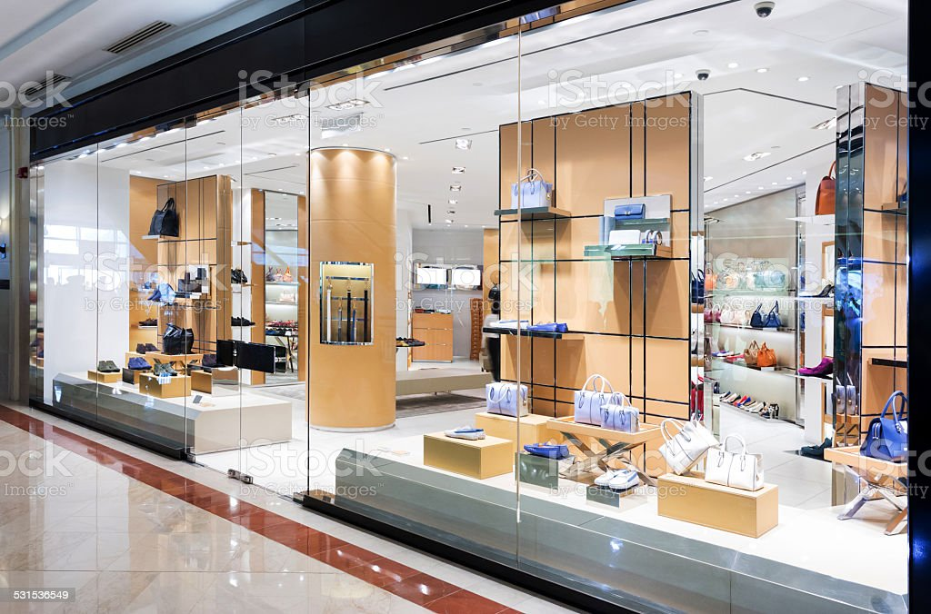 handbag retail fasion store and showcase. stock photo