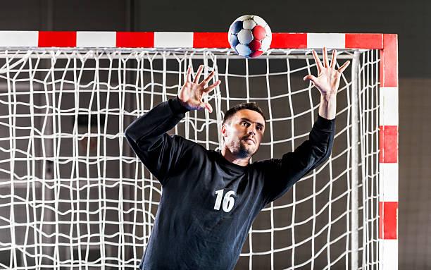 handball goalkeeper in action. - handboll bildbanksfoton och bilder