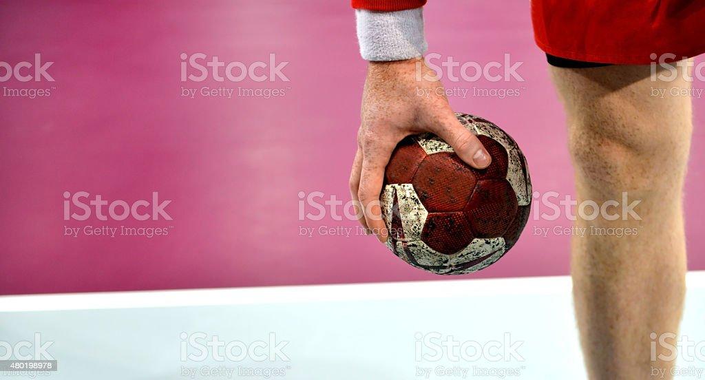 Andebol-Jogador de handebol-Andebol Tribunal - fotografia de stock