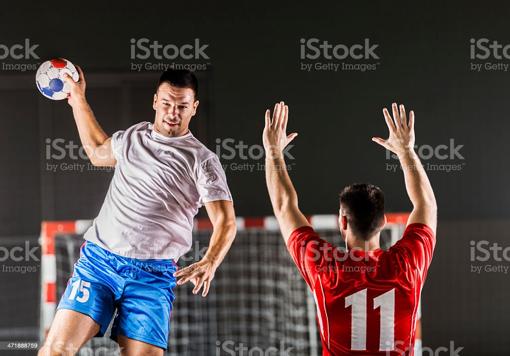 Handball player in action. royalty-free stock photo