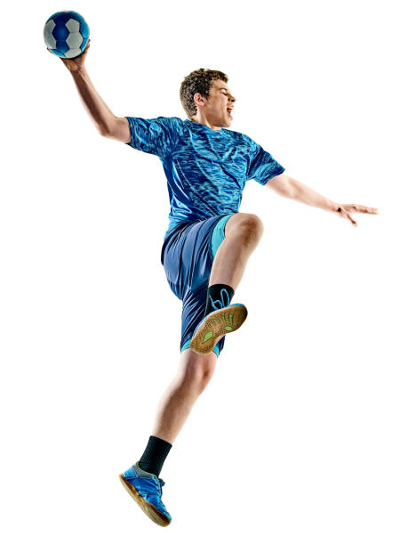 handball player teenager boy isolated - fotografia de stock