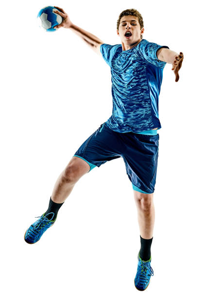 niño de adolescente de jugador de Balonmano aislado - foto de stock