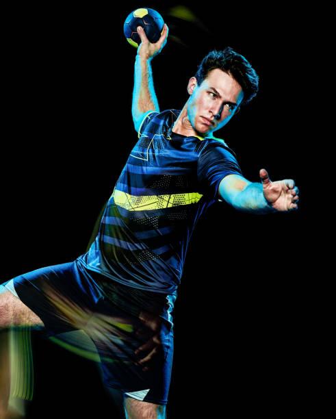 Balonmano jugador joven aislado velocidad luz pintura - foto de stock