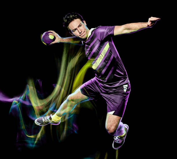 handball player young man isolated speed light painting - fotografia de stock