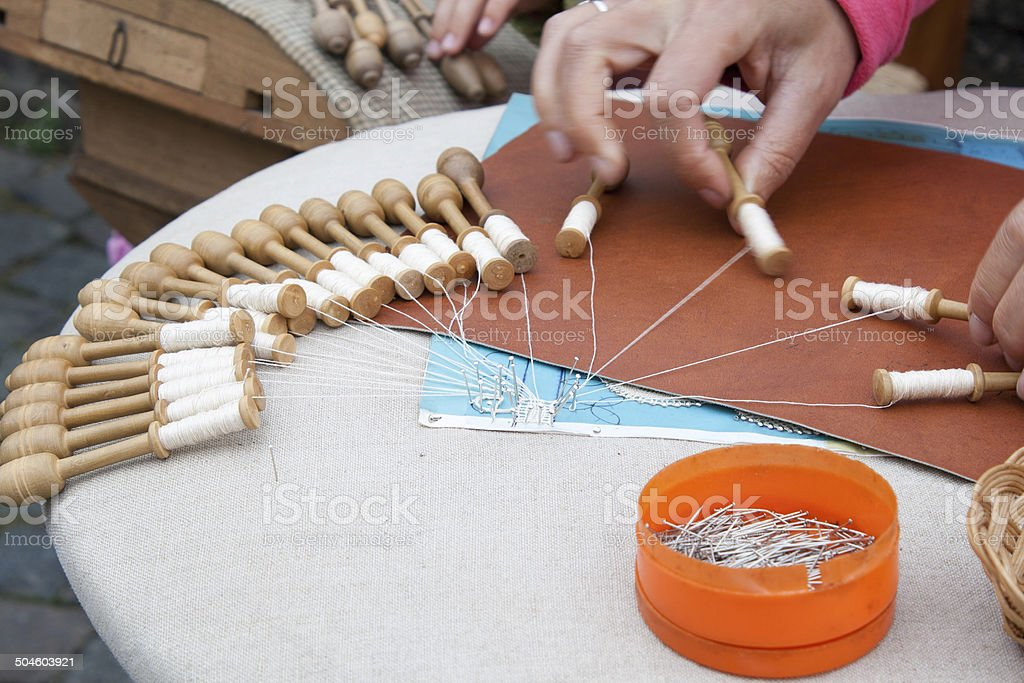 Handcraft lace made in Belgium Flanders Bruges stock photo