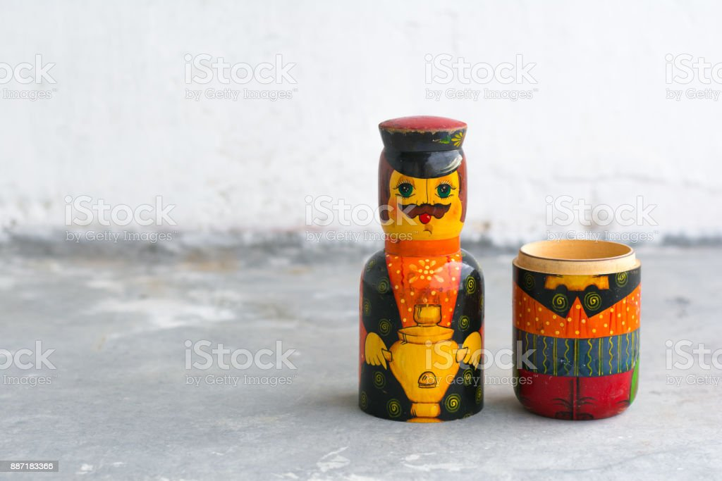 Handcraft wooden vintage russian nesting doll stock photo