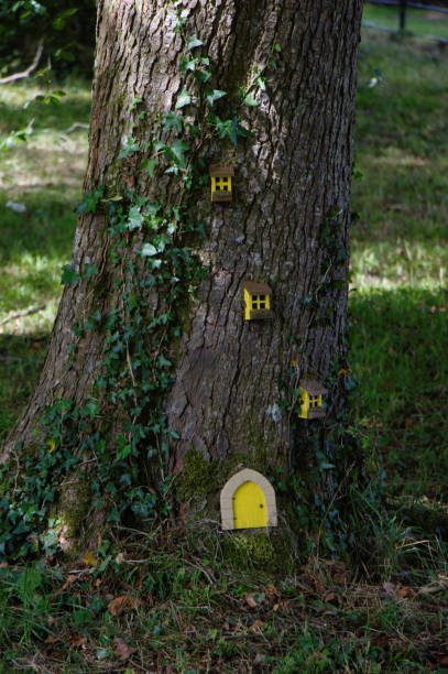 Handcraft work in the woods. Little folk house in a tree. stock photo