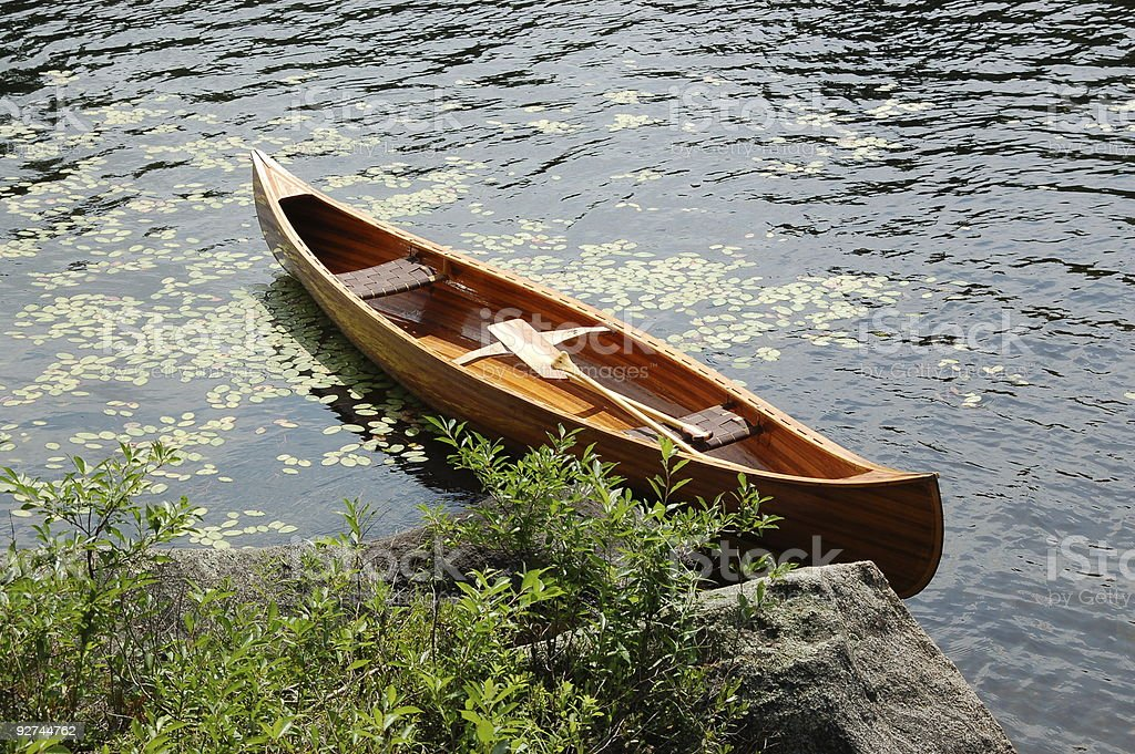 Handcrafted cedar strip canoe royalty-free stock photo