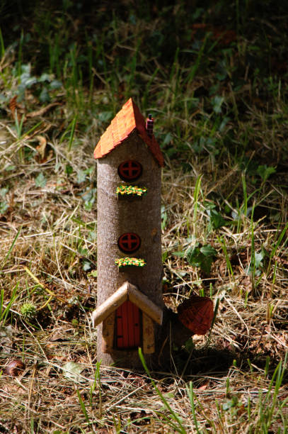 Handcrafted fairy house. Little Folk house made of wood. stock photo
