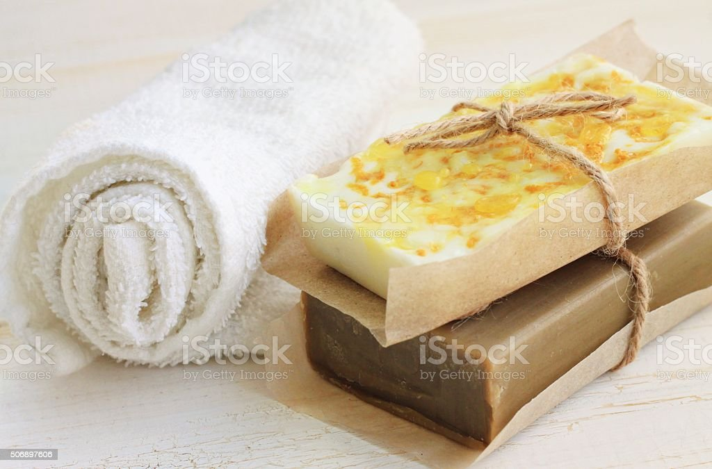 Handcrafted soap bars stock photo