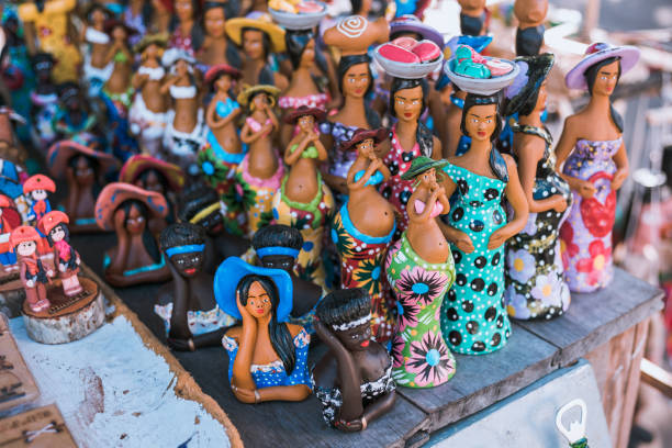 Handcrafts made in Brazil Ceramics and wood art concept. Handcrafts produced by the natives of the city of Olinda, typical of the northeast Brazilian people in Pernambuco, Brazil. craft product stock pictures, royalty-free photos & images