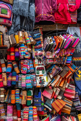 Handcrafts on sale in La Paz city, capital of Bolivia
